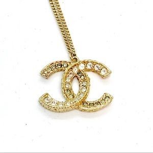 CHANEL Jewelry - CHANEL Gold Crystal Large CC Grey White Pendant